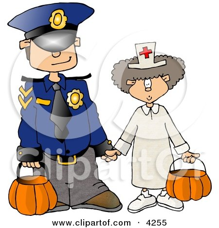 Halloween Police Officer And Doctor Clipart