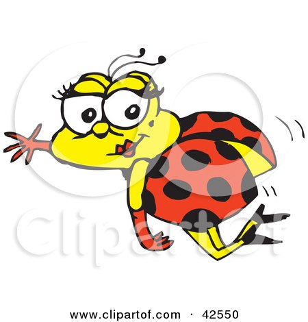 Clipart Illustration of a Flying Pretty Ladybug Waving And Wearing Gloves And Heels by Dennis Holmes Designs