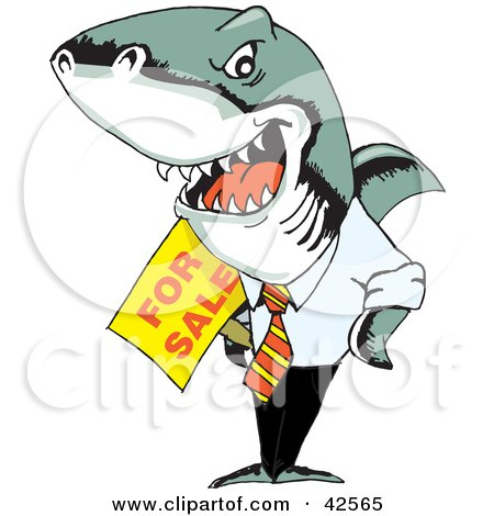 Evil Business Shark Holding A For Sale Sign Posters, Art Prints