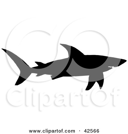 Clipart Illustration of a Black Silhouette Of A Swimming Shark by Dennis Holmes Designs
