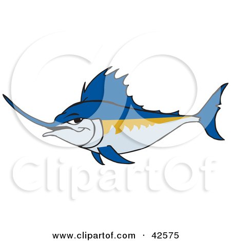 Clipart Illustration of a Tough Blue Swordfish by Dennis Holmes Designs
