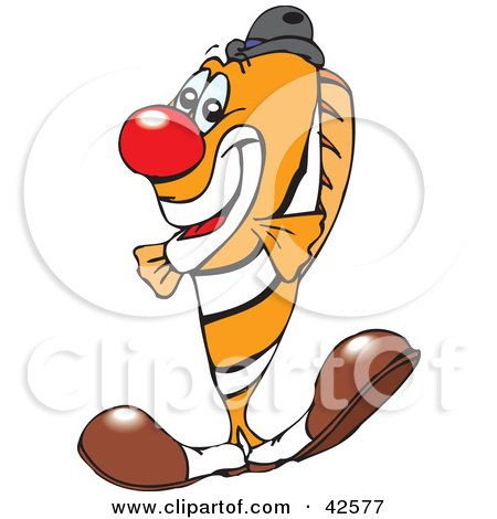 Clipart Illustration of a Clowny Clown Fish Wearing A Red Nose And Big Shoes by Dennis Holmes Designs