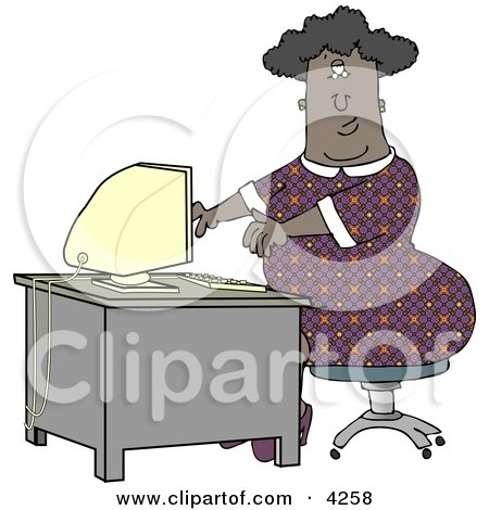 Obese African American Secretary Working On a Computer Clipart by djart