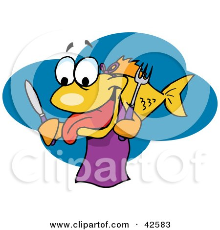 Clipart Illustration of a Hungry Yellow Fish Wearing A Bib And Holding A Knife And Fork by Dennis Holmes Designs
