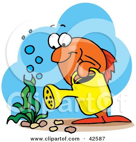 Orange Marine Fish Watering An Aquatic Plant Posters, Art Prints