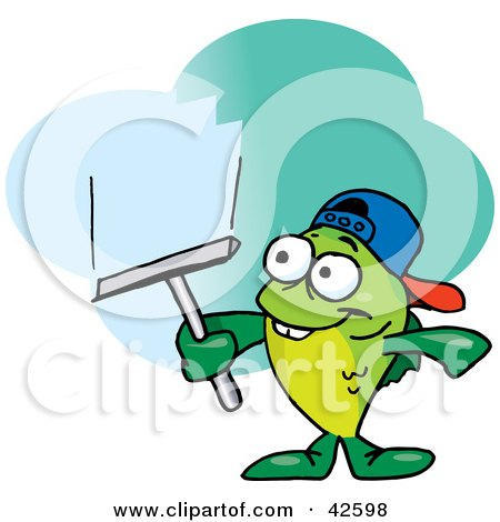 Clipart Illustration of a Green Fish Window Cleaner Using A Squeegee by Dennis Holmes Designs