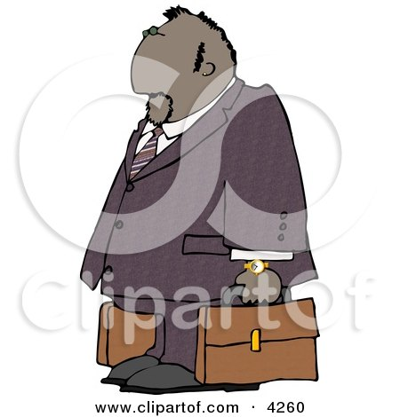 Ethnic Businessman Traveling with a Couple Briefcases Clipart by djart