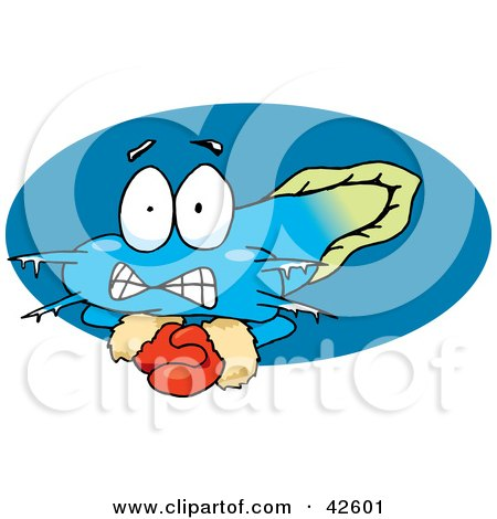 Clipart Illustration of a Cold Goby Fish Wearing Gloves by Dennis Holmes Designs