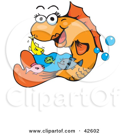 Clipart illustration of baby fish swimming around a happy for Happy fish swimming