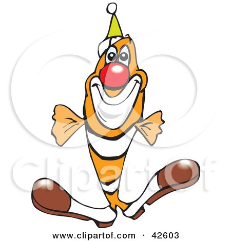 Clipart Illustration of a Clowny Clown Fish Wearing A Red Nose And Party Hat by Dennis Holmes Designs