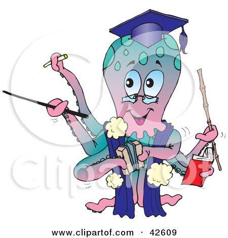 Clipart Illustration of a Graduate Octopus In A Gown And Cap by Dennis Holmes Designs