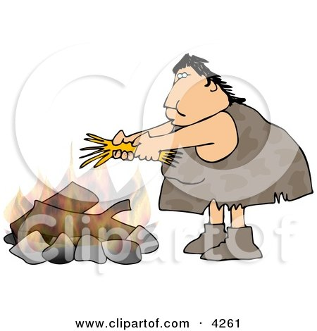 Female Caveman Starting a Campfire Clipart by djart