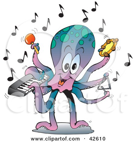 Clipart Illustration of a Performing Octopus Playing A Keyboard, Maraca, Tambourine, And Triangle by Dennis Holmes Designs