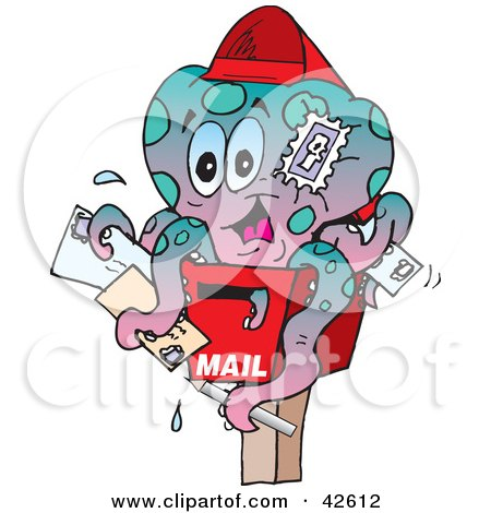 Clipart Illustration of a Postal Octopus On A Mail Box by Dennis Holmes Designs