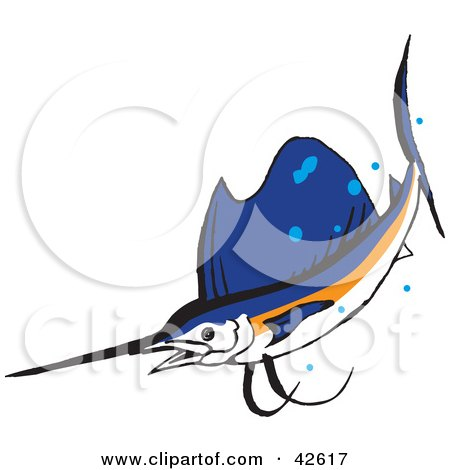 Clipart Illustration of a Swimming White, Orange And Blue Marlin Fish by Dennis Holmes Designs