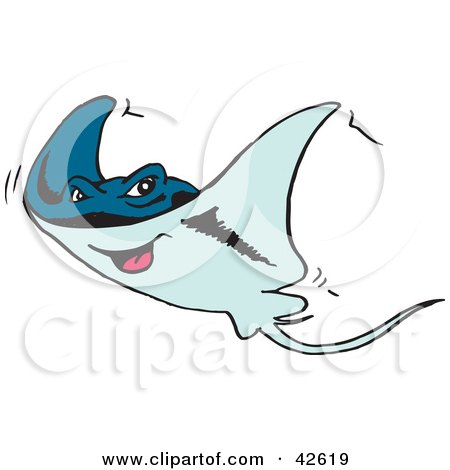 Clipart Illustration of a Happy Blue Stingray by Dennis Holmes Designs