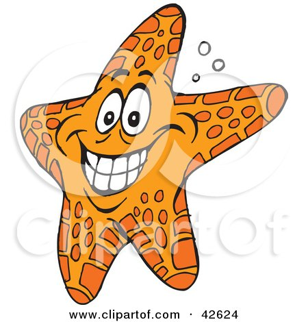 Clipart Illustration of a Hyper Orange Starfish by Dennis Holmes Designs