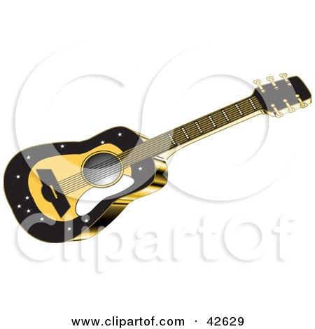 Clipart Illustration of a Yellow Acoustic Guitar With Black Trim by Dennis Holmes Designs