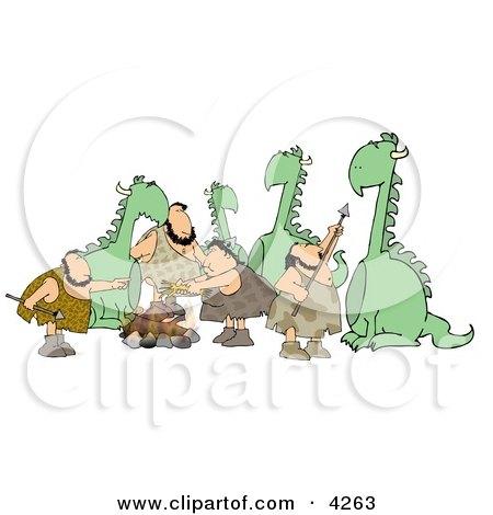 Dinosaurs & Cavemen Clipart by djart