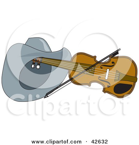 Clipart Illustration of a Cowboy Hat Resting On A Violin With A Bow by Dennis Holmes Designs
