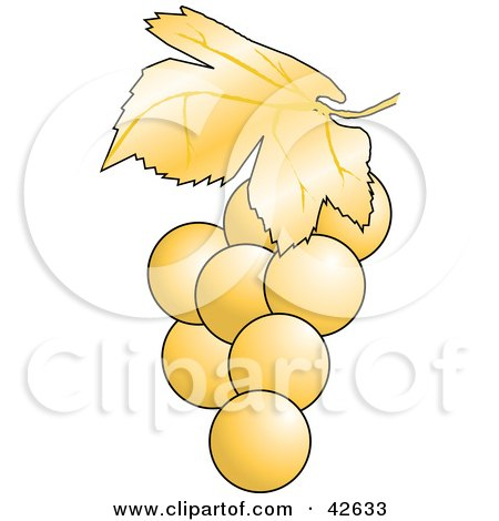Clipart Illustration of a Cluster of Perfect White Grapes by Dennis Holmes Designs