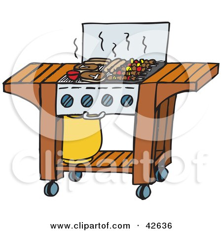 Clipart Illustration of Steaks, Hot Dogs And Kebobs Cooking On A Gas Grill At A Barbecue by Dennis Holmes Designs