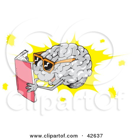 Clipart Illustration of a Smart Brain Wearing Shades And Reading by Dennis Holmes Designs