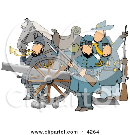 Civil War Soldiers and Horse, Armed with a Cannon and Rifles Clipart by djart