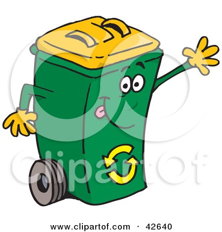 Waving Friendly Green Recycle Bin With A Yellow Lid Posters, Art Prints