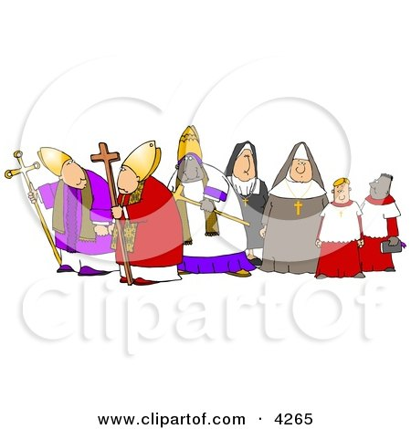 Group of Religious Nuns and Bishops Clipart by djart