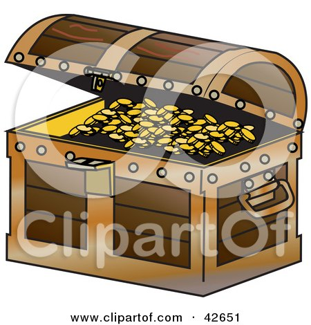 Clipart Illustration of a Wooden Treasure Chest, Slightly Open To Display Gold Coins by Dennis Holmes Designs