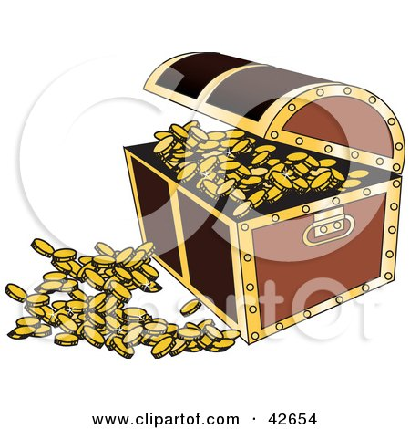 Clipart Illustration of an Open Treasure Chest With Coins Spilling Out by Dennis Holmes Designs