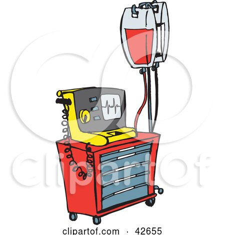 Clipart Illustration of a Red And Yellow Medical Rash Cart With Intravenous Fluids by Dennis Holmes Designs
