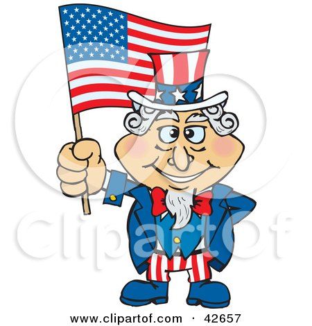 Clipart Illustration of Uncle Sam Holding Up An American Flag In The Wind by Dennis Holmes Designs