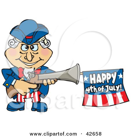 Clipart Illustration of Uncle Sam Shooting An Independence Day Flag Out Of A Gun by Dennis Holmes Designs