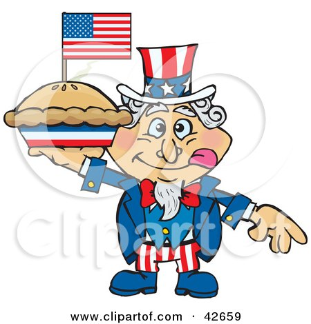 Clipart Illustration of Uncle Sam Holding Up An Apple Pie With An American Flag On Top by Dennis Holmes Designs
