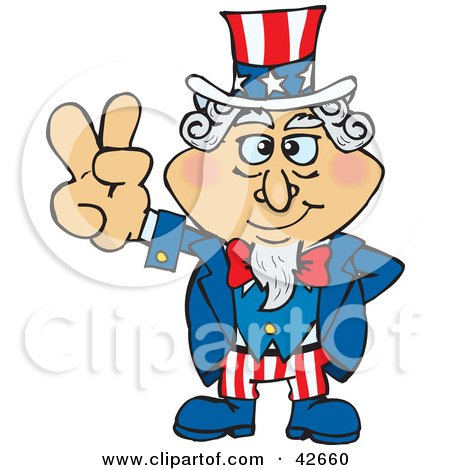 Clipart Illustration of Uncle Sam With One Hand Behind His Back, Gesturing The Peace Sign by Dennis Holmes Designs