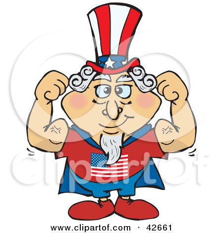 Clipart Illustration of a Super Uncle Sam In A Cape, Flexing His Muscles by Dennis Holmes Designs