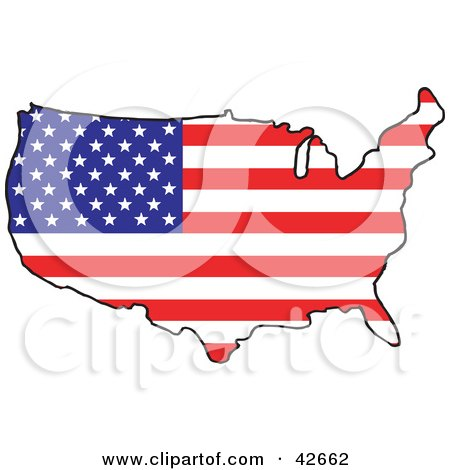 Map Of The Continental United States With A Stars And Stripes Pattern Posters, Art Prints