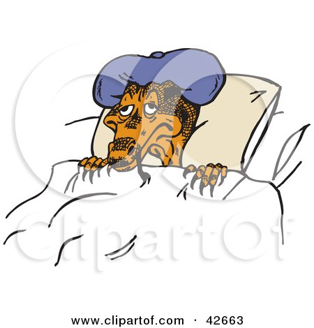 Clipart Illustration of a Sick Lizard Wearing A Cold Pack On His Hed And Resting by Dennis Holmes Designs