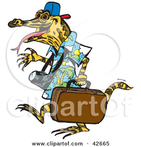 Clipart Illustration of a Traveling Lizard Carrying Luggage by Dennis Holmes Designs