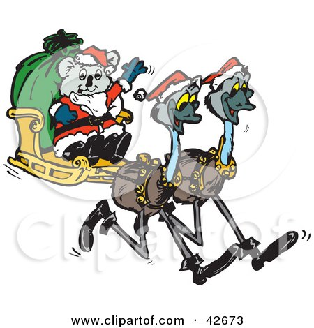 Clipart Illustration of a Koala Santa Riding In A Sleigh Pulled By Emus by Dennis Holmes Designs