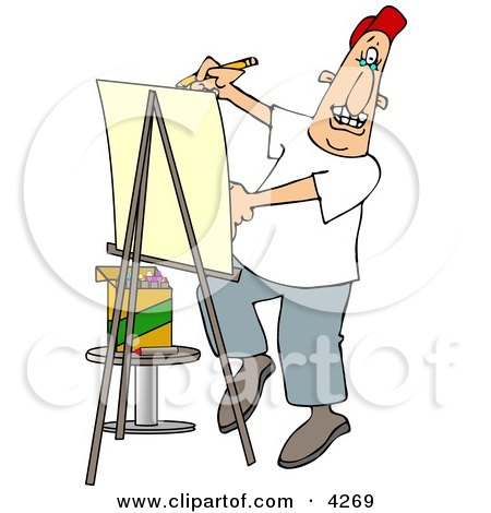 Artist Drawing Caricature On Posterboard Clipart by djart