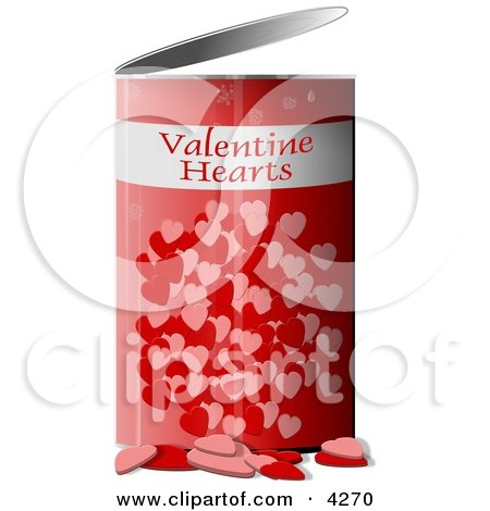 Can Of Valentine Hearts Clipart