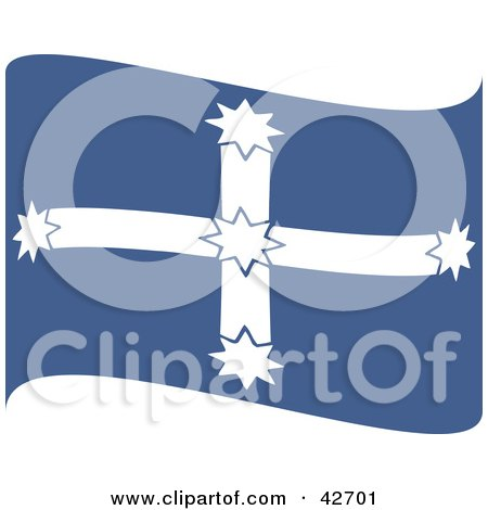clipart illustration of a waving blue and white southern cross eureka flag by dennis holmes. Black Bedroom Furniture Sets. Home Design Ideas