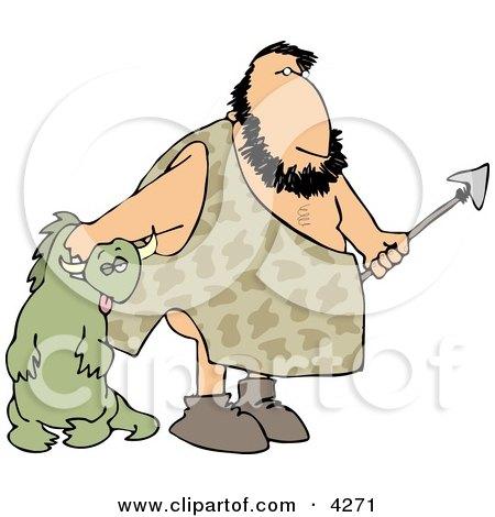 Caveman Carrying Dead Dinosaur Clipart by djart