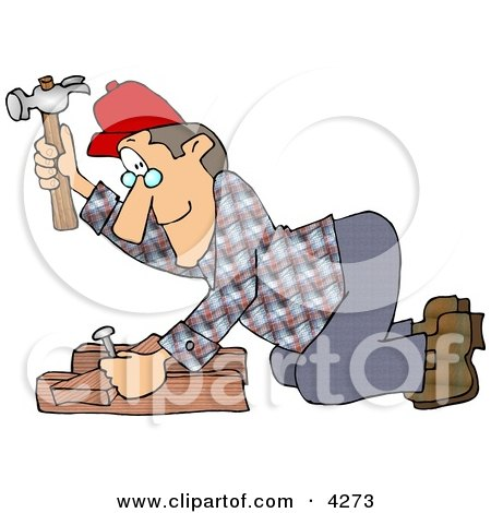 Male Carpenter Hammering a Nail Through Wood Beams Clipart by djart