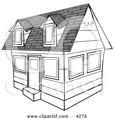 Black and White House Clipart by Dennis Cox
