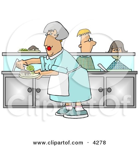 Cafeteria Lady Preparing Plates of Food for School Children Waiting In Line Clipart by Dennis Cox