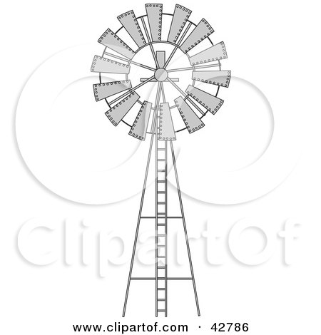 Black and White Wind Pump Posters, Art Prints